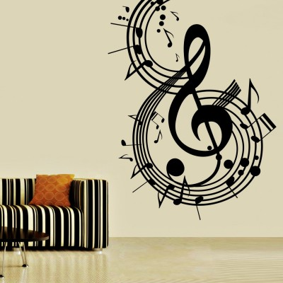 Music Notes Wall Sticker Decal-Small-Black