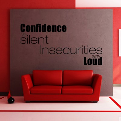 Confidence Is Silent Wall Sticker Decal-Small-Black