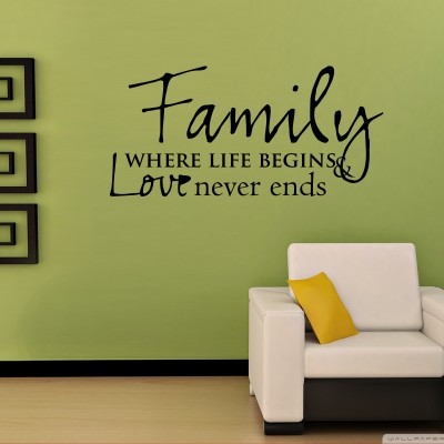 Family And Love Three Wall Sticker Decal 3-Small-Black