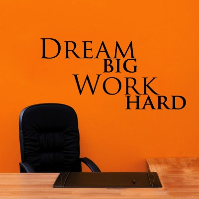 Dream Big Work Hard Three Wall Sticker Decal 3-Small-Black