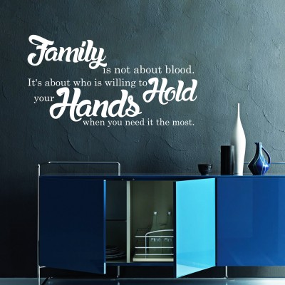 Family Is Not About Blood Wall Sticker Decal-Small-White