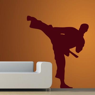 Karate Man Wall Sticker Decal-Small-Burgundy