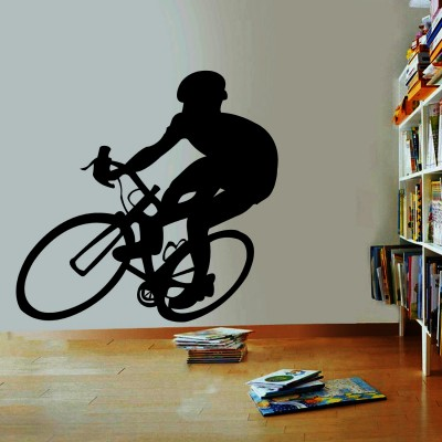 Cyclist Wall Sticker Decal-Small-Black