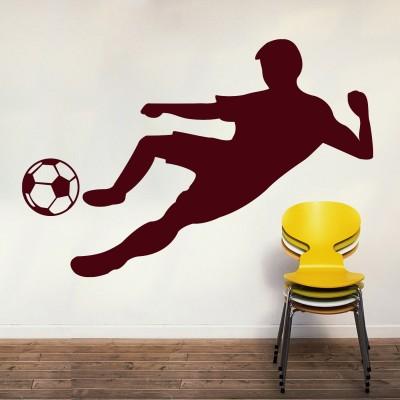 Footballer Wall Sticker Decal-Small-Burgundy