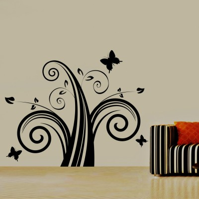 Swirl With Butterfly Wall Sticker Decal-Small-Black