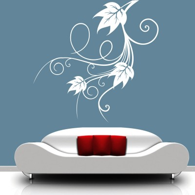 Leafy Curls Wall Sticker Decal-Small-White