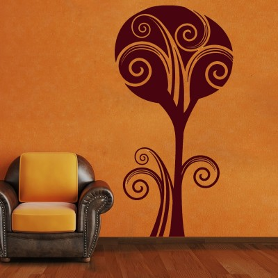 Cotton Tree Wall Sticker Decal-Small-Burgundy