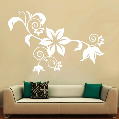 Floral Curls 2 Wall Sticker Decal-Small-White
