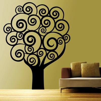 Swirl Tree 1 Wall Sticker Decal-Small-Black