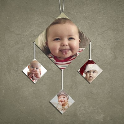 Diamond 4 Pic Personalized Photo Wall Hanging