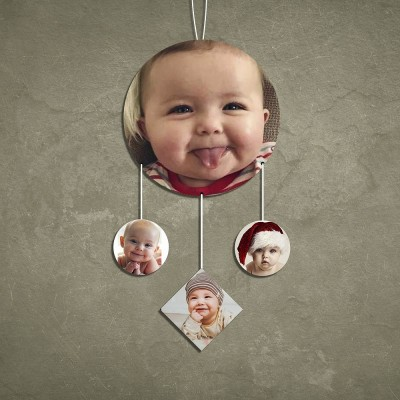 Circle 4 Pic Personalized Photo Wall Hanging