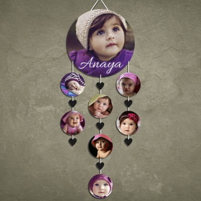 Name Circle 8 Pic Personalized Photo Wall Hanging